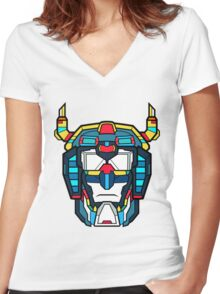 Voltron Head Defender Women's Fitted V-Neck T-Shirt