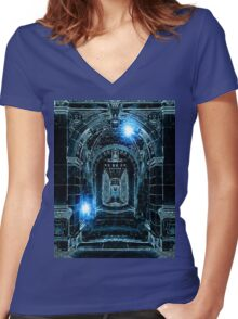 Abstract Gothic Architecture Women's Fitted V-Neck T-Shirt