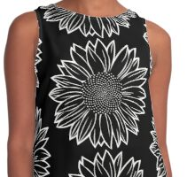 Sunflower in White Contrast Tank