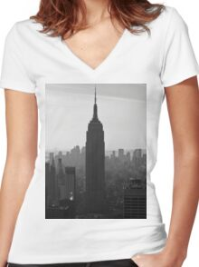the NY Empire State Building Women's Fitted V-Neck T-Shirt
