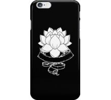 Lotus With Ribbon - Black iPhone Case/Skin