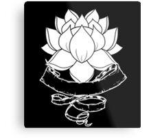 Lotus With Ribbon - Black Metal Print