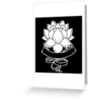 Lotus With Ribbon - Black Greeting Card