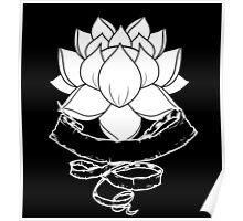 Lotus With Ribbon - Black Poster