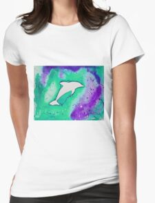 Dolphin in green Womens Fitted T-Shirt