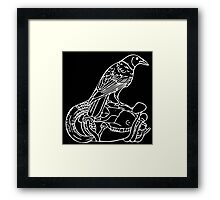 Crow in White Framed Print