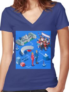 USA Political Elections Infographic Women's Fitted V-Neck T-Shirt