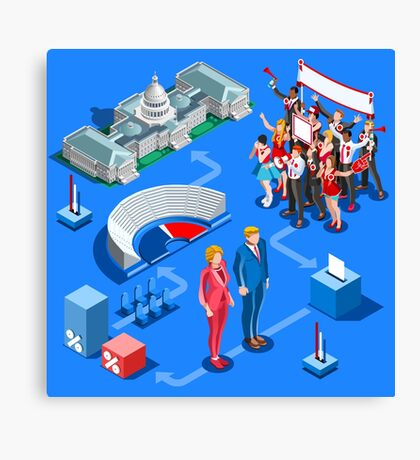 USA Political Elections Infographic Canvas Print