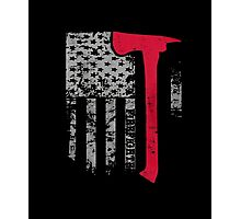 Thin Red Line Firefighter American Flag shirt Photographic Print