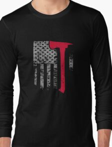 Thin Red Line Firefighter American Flag shirt Long Sleeve T-Shirt