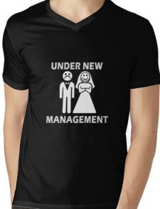 Under New Management Funny Bachelor Party Gift For Married Couples Mens V-Neck T-Shirt