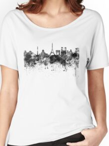 Paris skyline in black watercolor Women's Relaxed Fit T-Shirt
