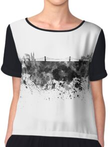 Budapest skyline in black watercolor Chiffon Top