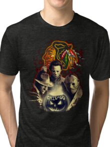 Chicago Blackhawks Halloween T-shirt  Tri-blend T-Shirt