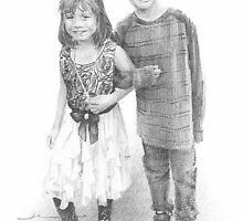 brother and sister drawing by Mike Theuer