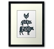 Farm Anilmals Silhouette. Chicken, pig and cow. Framed Print