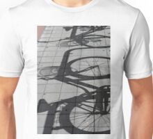 Shadows of bicycles on the asphalt Unisex T-Shirt