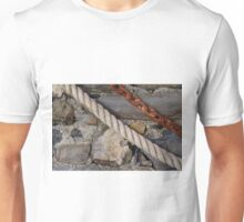 Stone texture with rope and steel chain Unisex T-Shirt