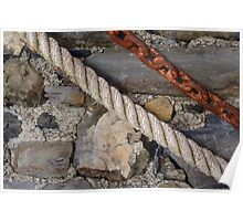 Stone texture with rope and steel chain Poster