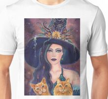 Jinx and Jazz Halloween witch with cats by Renee Lavoie Unisex T-Shirt