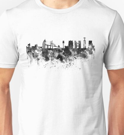 Lisbon skyline in black watercolor Unisex T-Shirt
