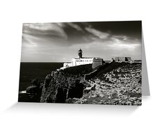 Cabo san Vicente, Portugal Black and White Greeting Card