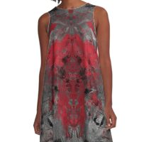 abstract  red/grey A-Line Dress
