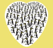 Penguins Clustered into a Heart Kids Clothes