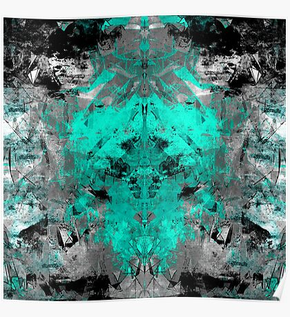 abstract teal/grey Poster