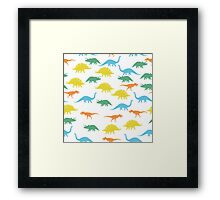 Colorful Dinosaurus Seamles Pattern Background Framed Print