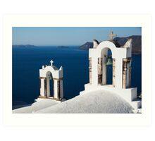 Church Bells, Santorini Art Print