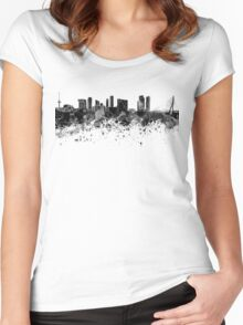 Rotterdam skyline in black watercolor Women's Fitted Scoop T-Shirt