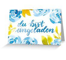 Blau-Blumige Aquarell-Einladungskarte Greeting Card