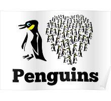 I Love Penguins Heart Poster