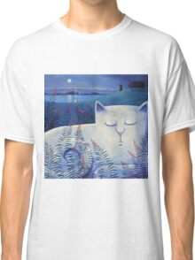 Blind white cat on a moonlit night. Classic T-Shirt