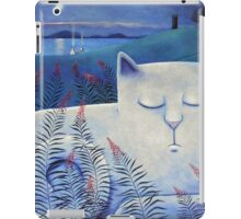 Blind white cat on a moonlit night. iPad Case/Skin