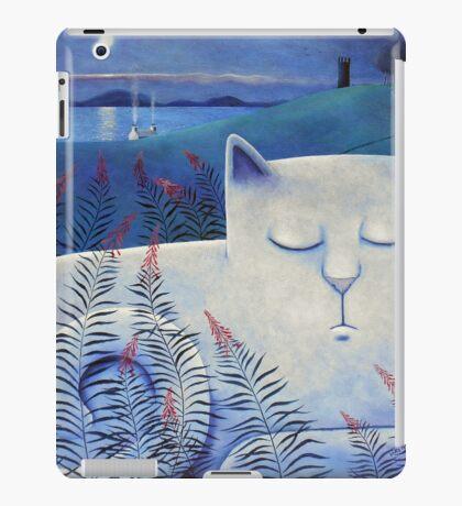 Blind white cat on a moonlit night. iPad Case/Skin
