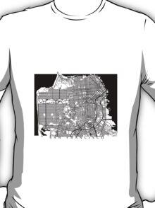 San Francisco Black and White Map Art - California, USA T-Shirt