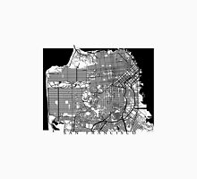 San Francisco Black and White Map Art - California, USA Unisex T-Shirt