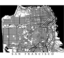 San Francisco Black and White Map Art - California, USA by CartoCreative