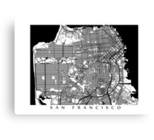 San Francisco Black and White Map Art - California, USA Canvas Print