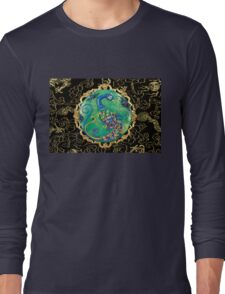 New Years Inspiration Black - Peacock Art Long Sleeve T-Shirt