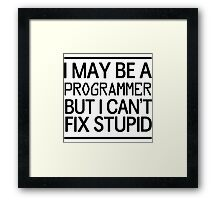 I may be a programmer but I can't fix stupid Framed Print