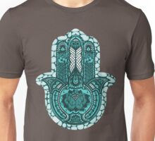 Turquoise and Dots Lotus Hamsa Unisex T-Shirt