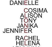 The Clone Club Names - Orphan Black by iTheressa
