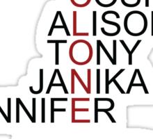 The Clone Club Names - Orphan Black Sticker