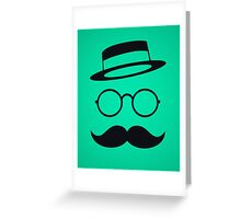 Retro / Minimal vintage face with Moustache & Glasses Greeting Card