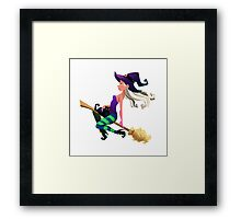Cute Halloween Witch  Framed Print