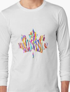 Abstract Maple Leaf Silhouette with Pattern Long Sleeve T-Shirt
