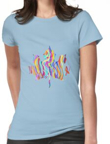 Abstract Maple Leaf Silhouette with Pattern Womens Fitted T-Shirt